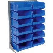 Global Industrial™ Singled Sided Louvered Bin Rack 35 x 15 x 50 - 12 Blue Premium Stacking Bins