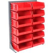 Global Industrial™ Singled Sided Louvered Bin Rack 35 x 15 x 50 - 12 Red Premium Stacking Bins
