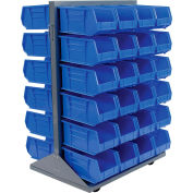 Global Industrial™ Mobile Double Sided Floor Rack - 48 Blue Stacking Bins 36 x 54