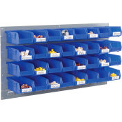 Global Industrial™ Wall Bin Rack Panel 36 x19 - 32 Blue 4-1/8x7-1/2x3 Stacking Bins