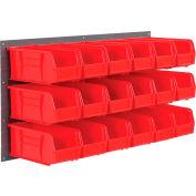 Global Industrial™ Wall Bin Rack Panel 36 x19 - 18 Red 5-1/2x11x5 Stacking Bins