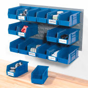 Global Industrial™ Wall Bin Rack Panel 36 x19 - 18 Blue 5-1/2x11x5 Stacking Bins