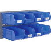 Global Industrial™ Wall Bin Rack Panel 36 x19 - 8 Blue 8-1/4x14-3/4x7 Stacking Bins