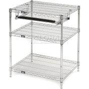 """Nexel™ Chrome Wire Shelf Computer Workstation with Keyboard Tray, 30""""W x 24""""D x 34""""H"""