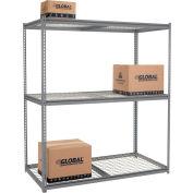 Global Industrial™ High Cap. Starter Rack 72Wx48Dx96H 3 Levels Wire Deck 1000lb Per Shelf GRY