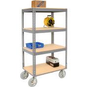 Global Industrial™ Easy Adjust Boltless 4 Shelf Truck 36x18 W/ Wood Shelves, Pneumatic Casters