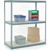 Global Industrial™ Wide Span Rack 60Wx24Dx84H, 3 Shelves Wood Deck 1200 Lb Cap. Per Level, Gray