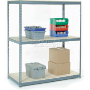 "Wide Span Rack 96""W x 24""D x 84""H With 3 Shelves Wood Deck 800 Lb Capacity Per Level - Gray"
