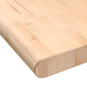 """Global Industrial™ Maple Butcher Block Safety Edge Workbench Top, 48""""W x 36""""D x 1-3/4""""H"""