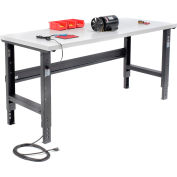 Global Industrial™ 72x30 Adjustable Height Workbench C-Channel Leg - Laminate Square Edge Black
