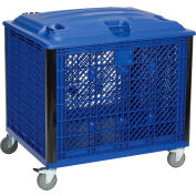 Global Industrial™ Easy Assembly Vented Wall Bulk Container Lid & Casters 39-1/4x31-1/2x29 Blue