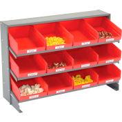 Global Industrial™ 3 Shelf Bench Pick Rack - 12 Red Plastic Shelf Bins 8 Inch Wide 33x12x21