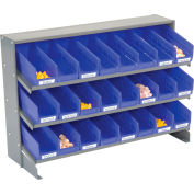 Global Industrial™ 3 Shelf Bench Pick Rack - 24 Blue Shelf Bins 4 Inch Wide 33x12x21