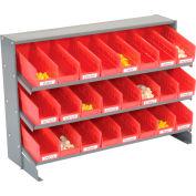 Global Industrial™ 3 Shelf Bench Pick Rack - 24 Red Plastic Shelf Bins 4 Inch Wide 33x12x21