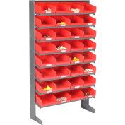 Global Industrial™ 8 Shelf Floor Pick Rack - 32 Red Plastic Shelf Bins 8 Inch Wide 33x12x61