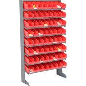 Global Industrial™ 8 Shelf Floor Pick Rack - 64 Red Plastic Shelf Bins 4 Inch Wide 33x12x61