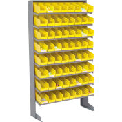 Global Industrial™ 8 Shelf Floor Pick Rack - 64 Yellow Plastic Shelf Bins 4 Inch Wide 33x12x61