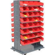 "Global Industrial™ 16 Shelf Double-Sided Mobile Pick Rack - 64 Red Plastic Shelf Bins 8"" Wide"