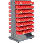 "Global Industrial™ 16 Shelf Double-Sided Mobile Pick Rack - 128 Red Plastic Shelf Bins 4"" Wide"