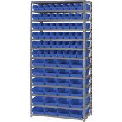 "Global Industrial™ Steel Shelving - Total 72 4""H Plastic Shelf Bins Blue, 36x18x72-13 Shelves"