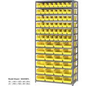 "Global Industrial™ Steel Shelving with 60 4""H Plastic Shelf Bins Yellow, 36x18x72-13 Shelves"