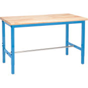 Global Industrial™ 60 x 36 Adjustable Height Workbench Square Tube Leg - Maple Safety Edge Blue
