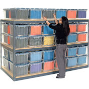 """Global Industrial™ Record Storage Rack 48""""W x 24""""D x 60""""H With Polyethylene File Boxes - Gray"""