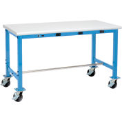 Global Industrial™ 72 x 30 Mobile Packing Workbench - Power Apron - Laminate Safety Edge - Blue