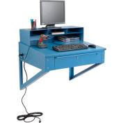 "Wall Mount Shop Desk with  Pigeonhole Compartment Riser 34-1/2""W x 30""D x 61""H - Blue"