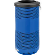 Global Industrial™ 20 Gallon Perforated Steel Receptacle w/ Flat Lid - Blue