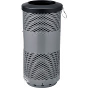 Global Industrial™ 20 Gallon Perforated Steel Receptacle w/ Flat Lid - Gray