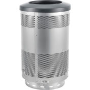Global Industrial™ 55 Gallon Perforated Steel Receptacle w/ Flat Lid - Stainless