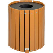 Global Industrial™ Recycled Plastic Round Trash Can With Liner, 32 Gallon, Cedar