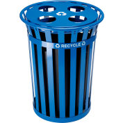 Global Industrial™ Outdoor Steel Recycling Receptacle with Multi-Stream Lid - 36 Gallon Blue