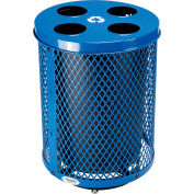 Global Industrial™ Deluxe Thermoplastic 32 Gal Mesh Recycling Receptacle w/Multi-Stream Lid Blue