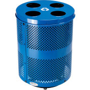 Global Industrial™ Deluxe Outdoor Steel Perforated Recycling Can W/Multi-Stream Lid,36 Gal,Blue