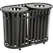 Global Industrial™ Outdoor Metal Slatted Double Trash Receptacle w/ Flat Lid - 72 Gal Black