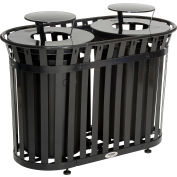 Global Industrial™ Outdoor Metal Slatted Double Trash Receptacle w/ Rain Bonnet Lid - 72 Gal BK
