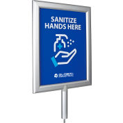 Global Industrial™ Perfex Frame for Sanitizer Dispenser Stand w/Sanitize Hands Here Graphic