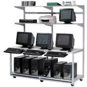 "Global Industrial™ 72"" Computer LAN Workstation, 72""W x 30""D x 74""H, Gray, Unassembled"