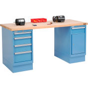 Global Industrial™ 72 x 30 Maple Square Edge 4 Drawer & Cabinet Workbench