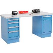 72 x 30 Plastic Safety Edge 4 Drawer & Cabinet Workbench