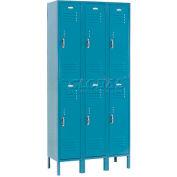 Paramount® Locker Double Tier 12x15x36 6 Door Ready To Assemble Blue