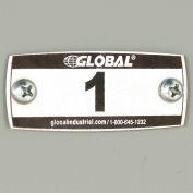 Global Industrial™ Locker Number Plate Kit - Pkg Of 100 Numbered 1-100 - Rivet Gun