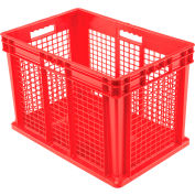 "Global Industrial™ Mesh Straight Wall Container, Solid Base, 23-3/4""Lx15-3/4""Wx16-1/8""H, Red - Pkg Qty 2"