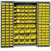 Global Industrial™ Bin Cabinet Deep Door - 144 Yellow Bins, 16-Gauge Assembled Cabinet 38x24x72