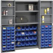 Global Industrial™ Bin Cabinet Deep Door, 72 BL Bin, Shelves, 16 Ga. Assembled Cabinet 38x24x72