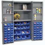 Global Industrial™ Bin Cabinet Deep Door, 68 BL Bin, Shelves, 16 Ga. Assembled Cabinet 38x24x72