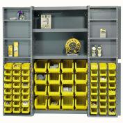 Global Industrial™ Bin Cabinet Deep Door, 64 YL Bins, Shelves, 16 Ga Assembled Cabinet 38x24x72
