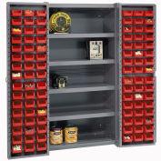 Global Industrial™ Bin Cabinet Deep Door, 96 RD Bin, Shelves, 16 Ga. Assembled Cabinet 38x24x72